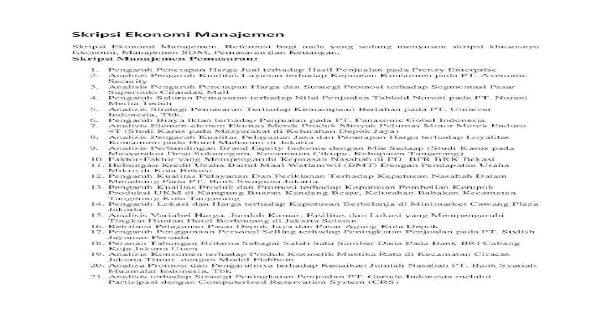 Skripsi Ekonomi Manajemen