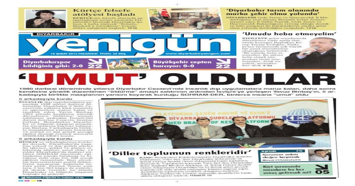 Diyarbakir Yenigun Gazetesi 18 Subat 2012