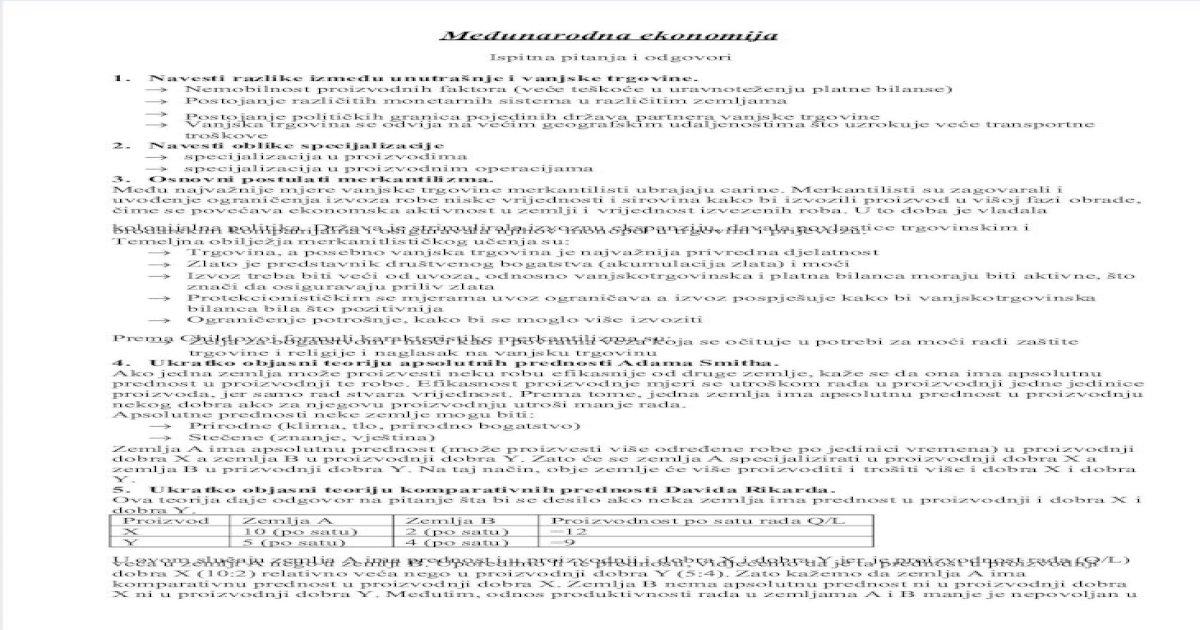 Međunarodna Ekonomija Ispitna Pitanja 2009