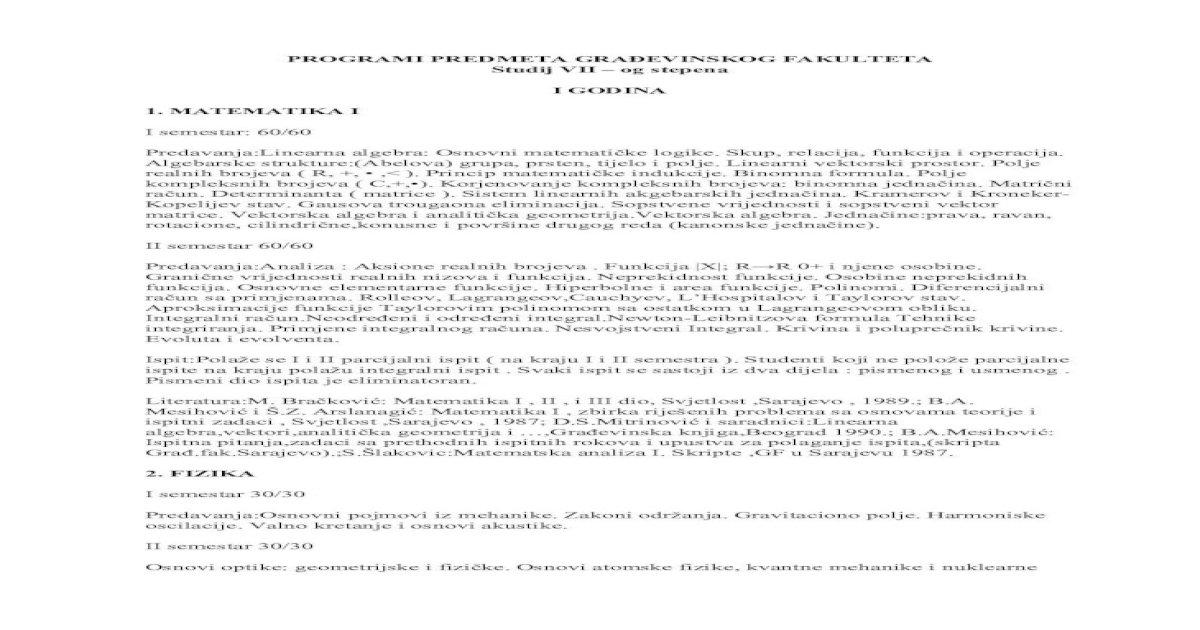 Programski Sadrzaji Predmeta Studija Vii Stepen