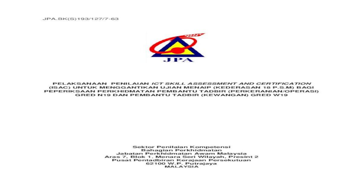 Jpa Bk S 193 127 7 63 Pelaksanaan Penilaian Ict Skill