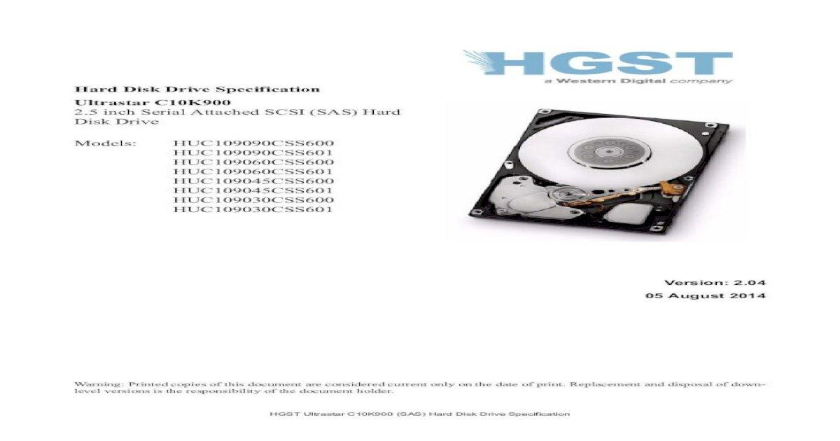 HGST Ultrastar C10K900 HUC109045CSS600 450 GB 2.5 Internal Hard Drive SAS 10000 rpm 64 MB Buffer