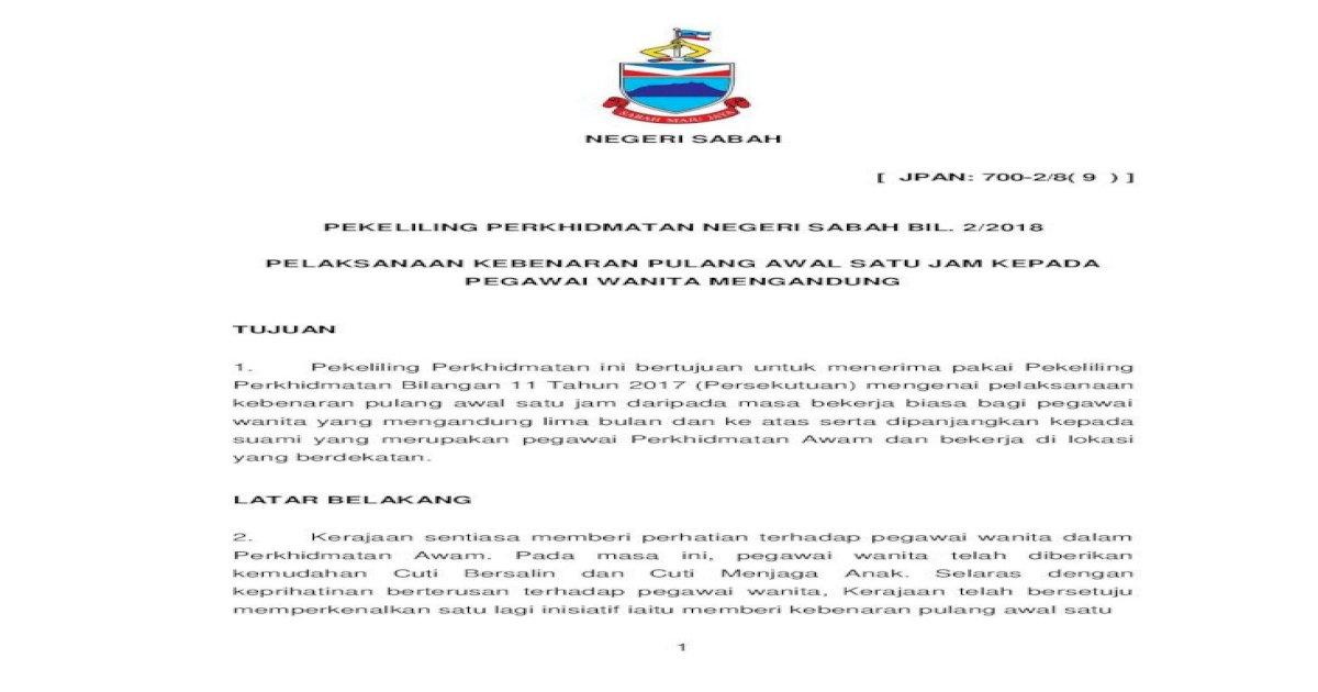 Negeri Sabah Jpan 700 2 8 9 Pekeliling Wanita Yang Mengandung Lima Bulan Dan Ke Atas