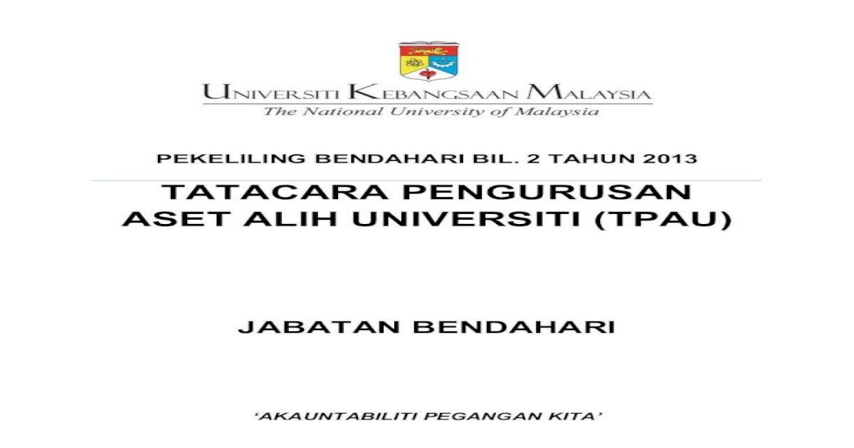 Tatacara Pengurusan Aset Alih Universiti Tpau Pula Bertanggungjawab Untuk Melaksanakan Pemeriksaan