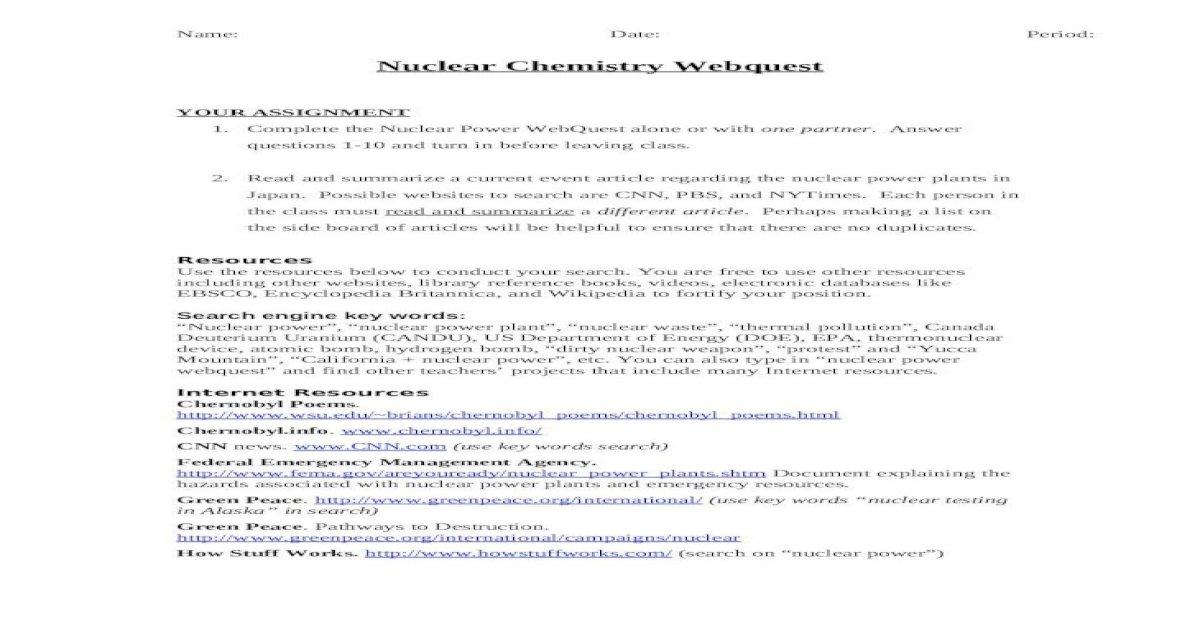 Key webquest answer radioactive elements WebQuest: Radioactive