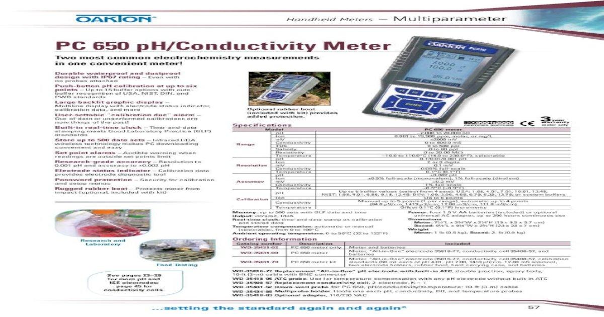 Oakton WD-35431-70 PC 650 pH//Conductivity Meter Kit