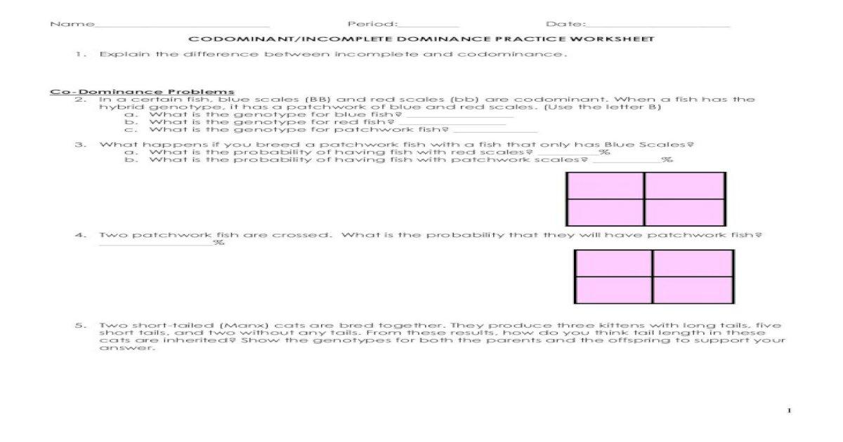 CODOMINANT/INCOMPLETE DOMINANCE DOMINANCE PRACTICE ...