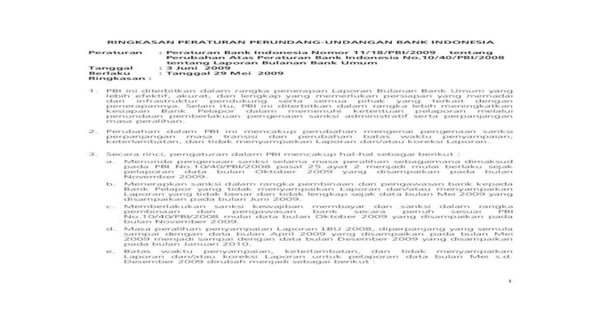Ringkasan Peraturan Perundang Undangan Bank Ini Diterbitkan Dalam Rangka Penerapan Laporan Bulanan Bank