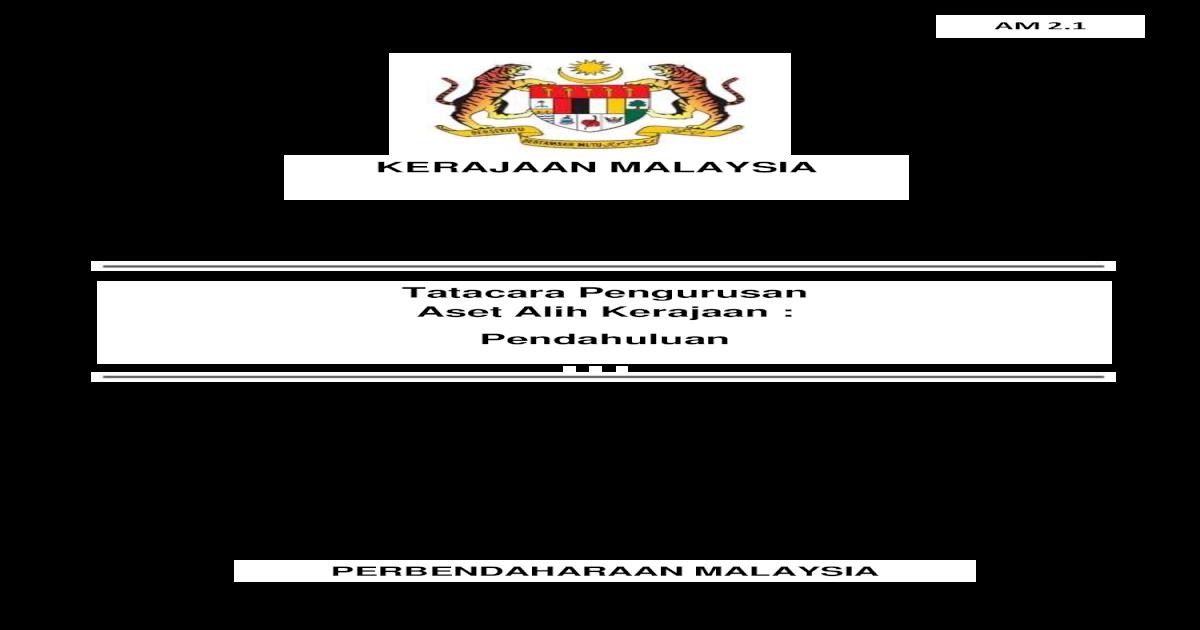 Kerajaan Malaysia Tatacara Pengurusan Aset Alih Kerajaan Pengurusan Aset Aset Kerajaan Boleh
