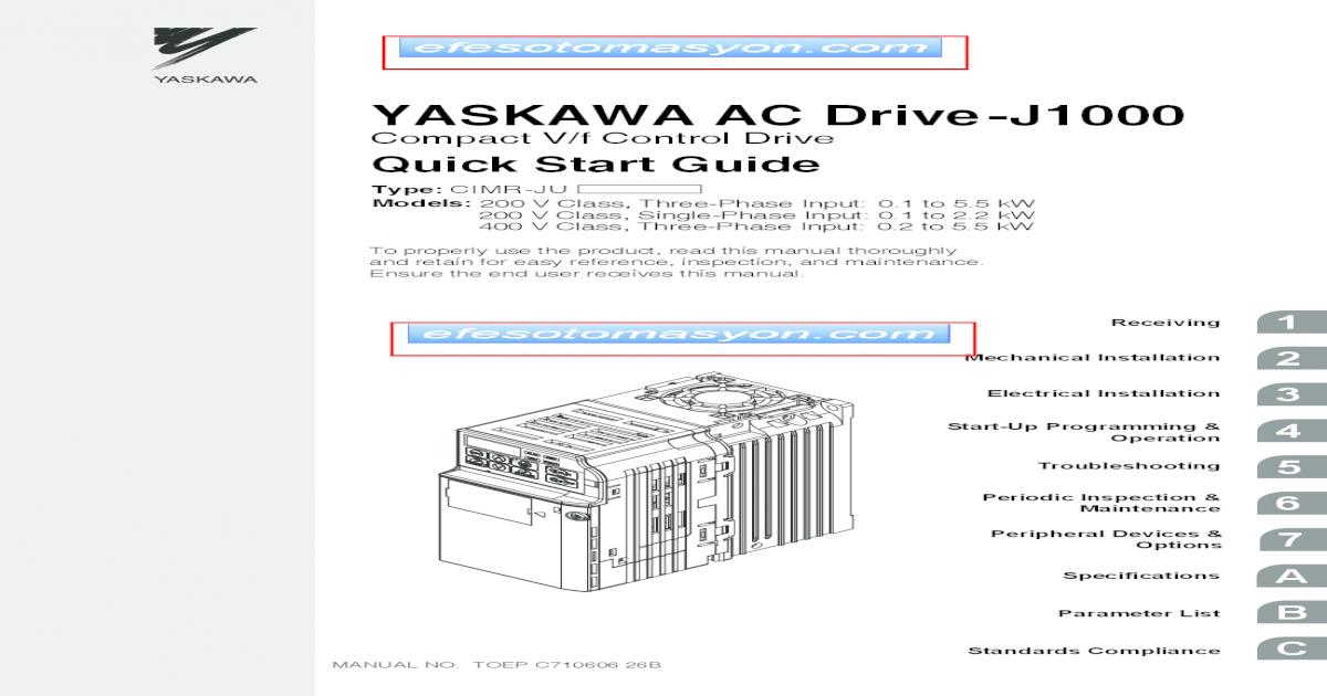 YASKAWA AC Drive-J1000 - endstriyel Quic YASKAWA ELECTRIC ... on