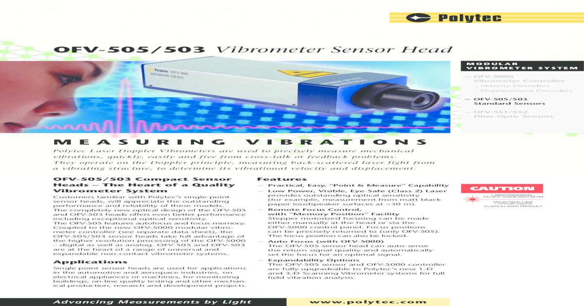 OFV-505/503 Vibrometer Sensor ? Advancing Measurements by