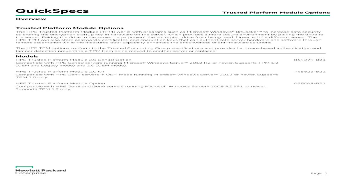 NEW HP 488069-b21 Trusted Platform Module Option Kit Security Kit