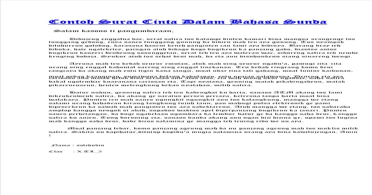 Contoh Surat Cinta Dalam Bahasa Sunda