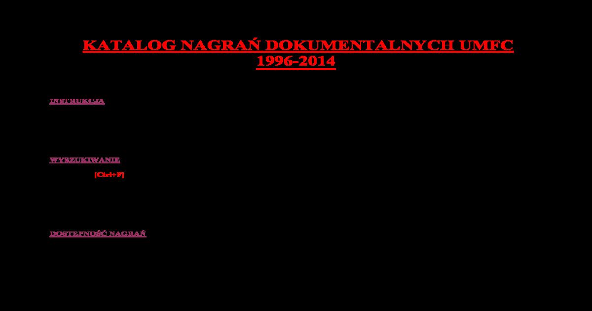 Katalog Nagra Dokumentalnych Umfc 1996 Zamiast Tchaikovsky