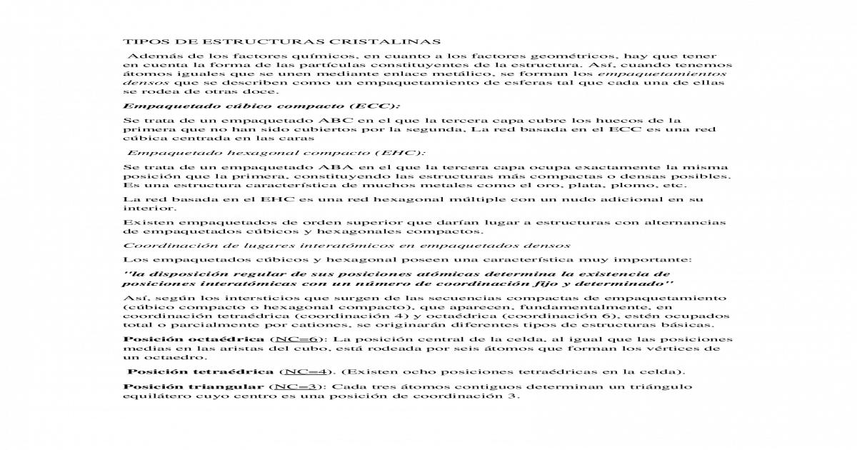 Tipos De Estructuras Cristalinas