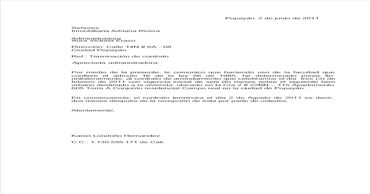 Carta Terminacion Contrato Inmobiliaria