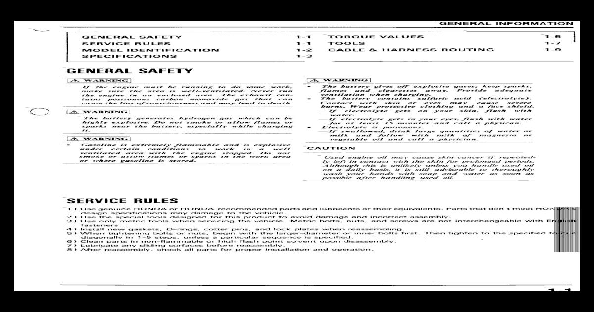 Honda Nsr 125 Jc20 Service Manual