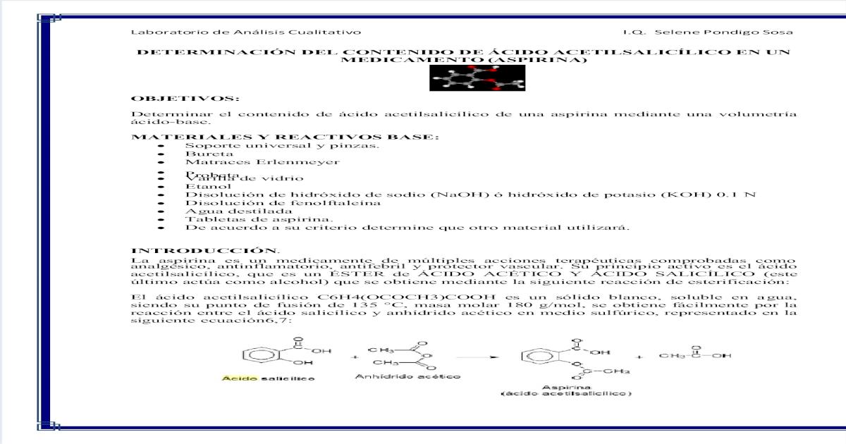 Principio acido activo acetilsalicilico