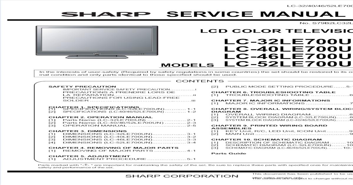 19365579 Sharp Aquos Lc32404652le700un Service Manual
