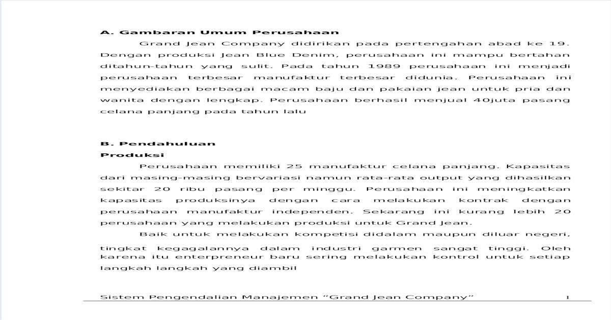 Makalah Sistem Pengendalian Manajemen Pada Perusahaan ...