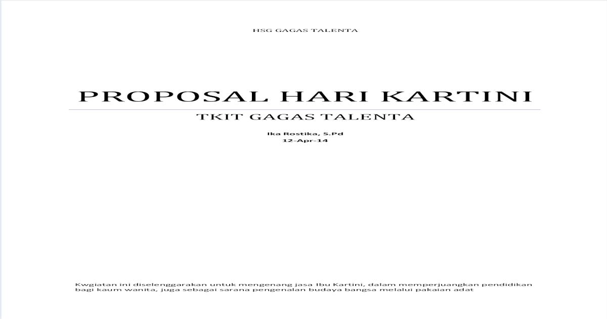 Contoh Proposal Hari Kartini