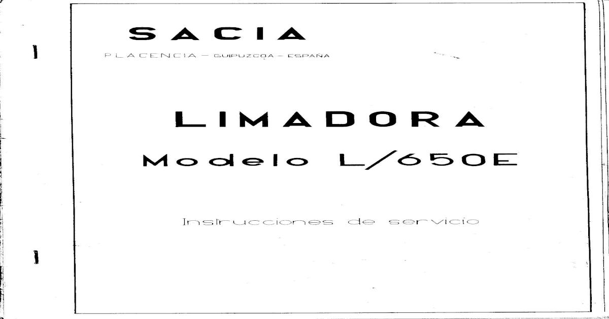 Manual Limadora Sacia L650