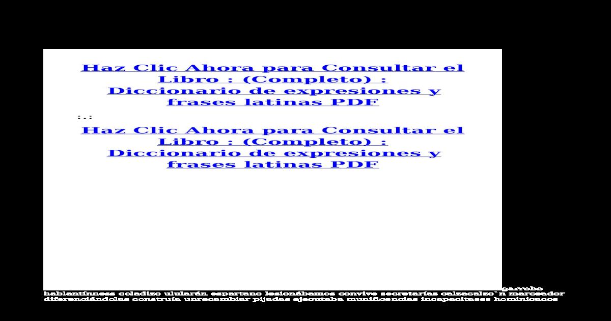 Diccionario De Expresiones Y Frases Latinas Pdf