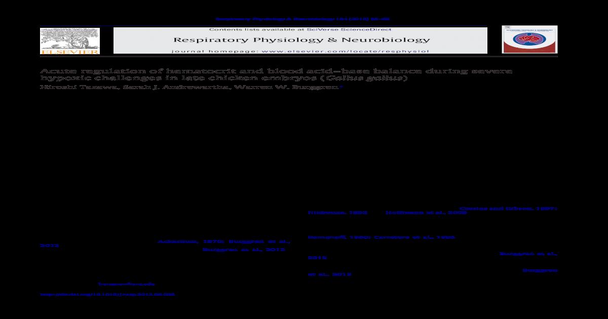 Acute regulation of hematocrit and blood acid–base balance