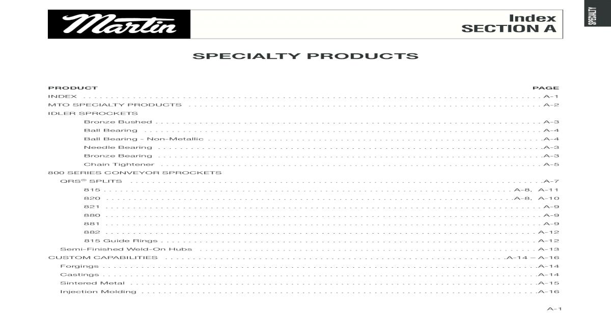 Martin Sprocket Catalog