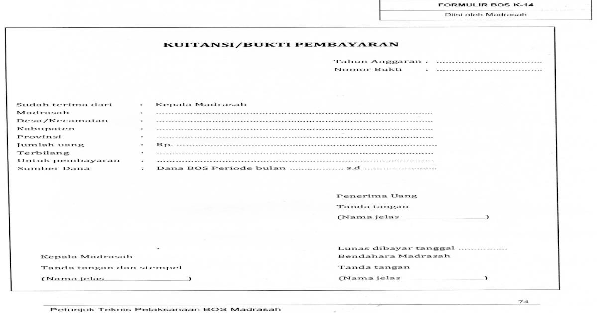 Format Kuitansi Formulir Bos K 14