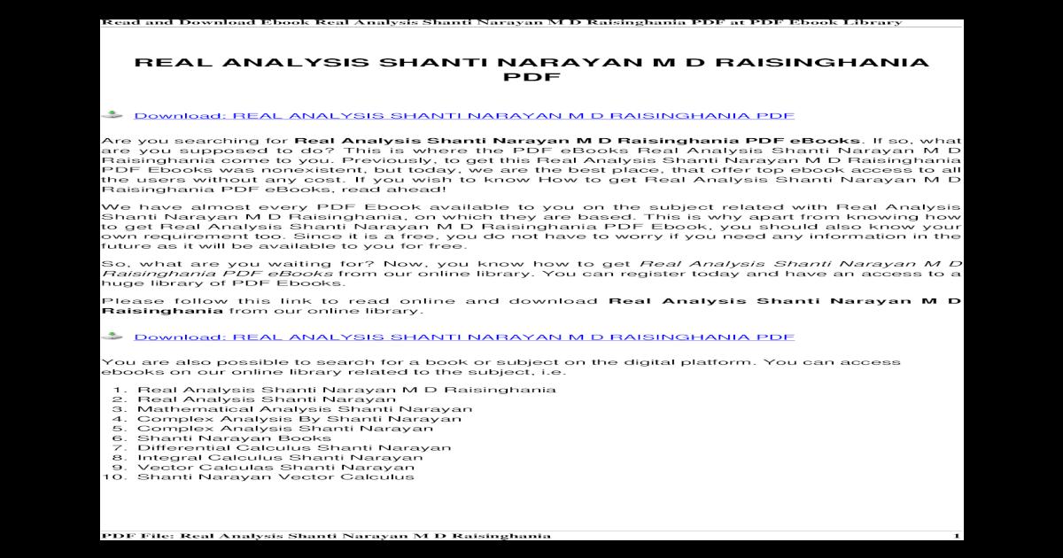 Real Analysis Shanti Narayan m d Raisinghania
