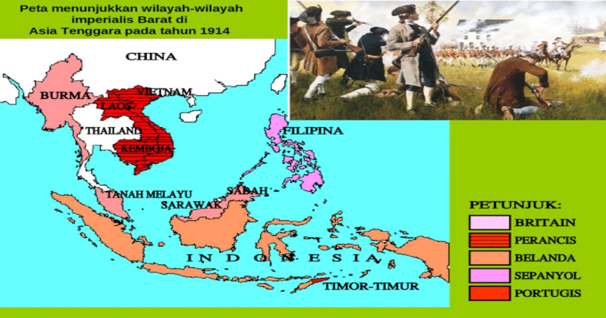 Peta Menunjukkan Wilayah Wilayah Imperialis Barat Di Asia Tenggara Pada Tahun 1914