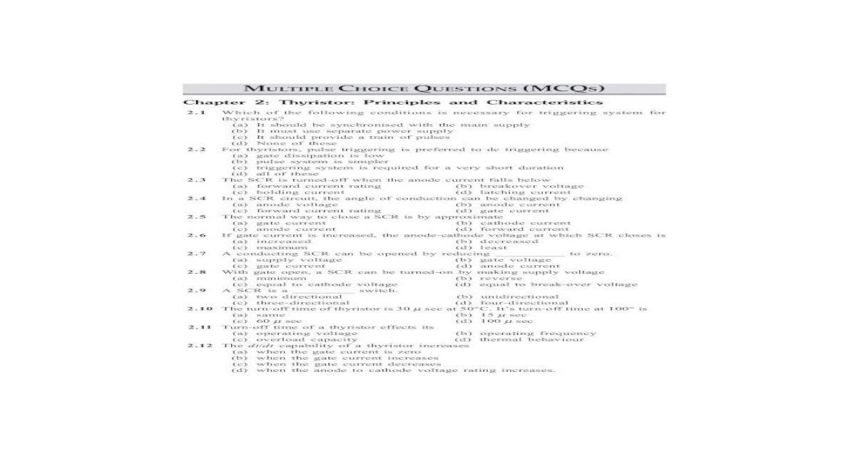 Thyristor Multiple Choice Questions