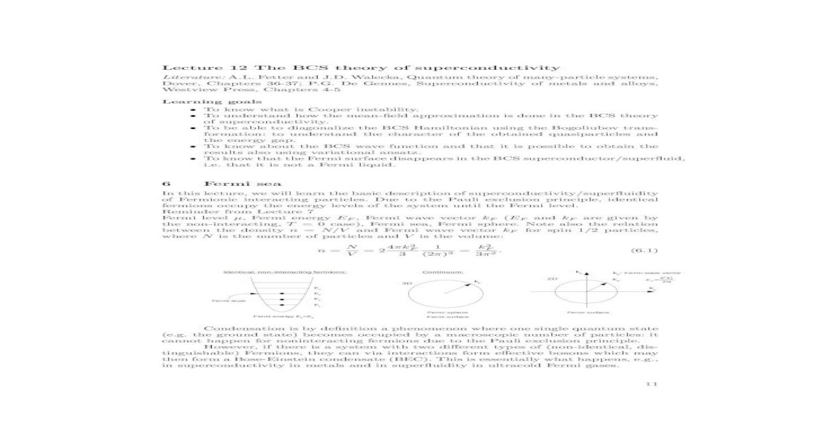 Lecture 12 The BCS theory of superconductivity 12 The BCS