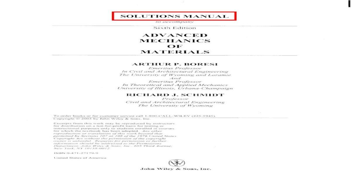 Advanced Mechanics of Materials 6th edition Solution Manual