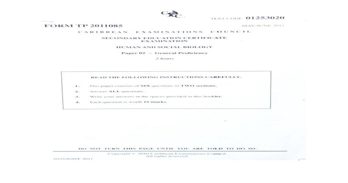CXC CSEC HSB Paper 2 (2011)