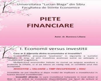 investiții în tipurile de piețe financiare