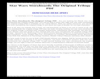 Download Star Wars Storyboards The Original Trilogy Pdf Wars Storyboards The Original Trilogy