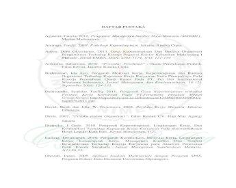 Daftar Pustaka Daftar Pustaka Pdf Organisasi Terhadap Kepuasan Kerja Karyawan Serta Kerja